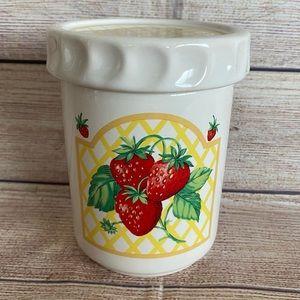 VINTAGE Strawberry Ceramic Jar Cottage Core